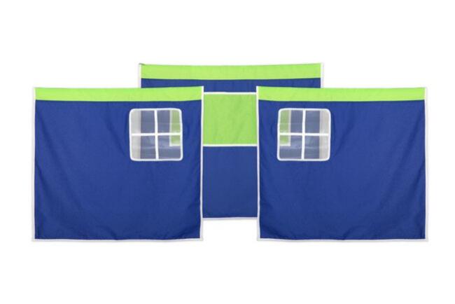 Deze blauwe bedtent van Thuka Hit bestaat uit een tentdoek in 3 delen: 2 delen met een raam aan de voorkant en 1 deel met een handig opbergvak.