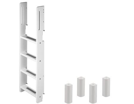 Flexa stapelbed onderdelen (bedpoten, trap en uitvalbeveiliging) voor het ombouwen van twee kinderbedden naar één stapelbed.