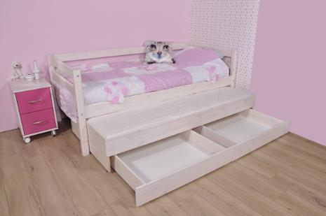 Whitewash bedbank met onderschuifbed en twee handige opbergladen.