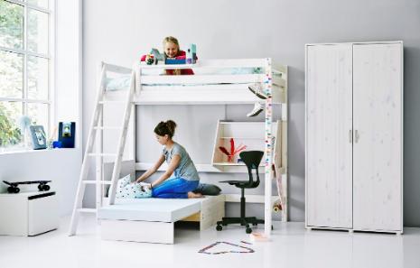 Flexa Classic hoogslaper met schuine ladder, slaapmodule en bureau