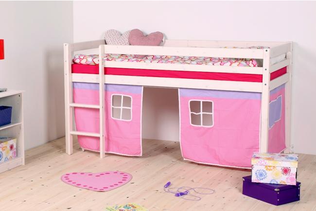 Thuka wit gelakt halfhoogslaper met roze/lila bedtent, waarin uw dochter heerlijk kan spelen.