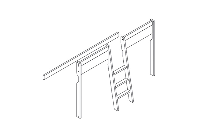 schuine trap en diversen voor halfhoogslaper met trap in het midden wit gelakt