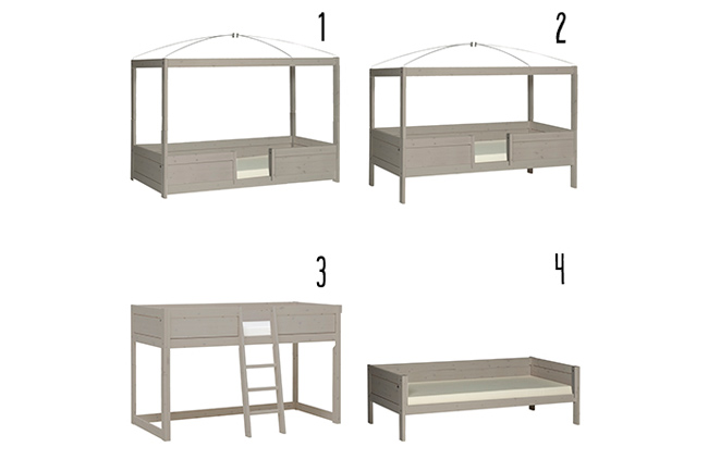 4 in 1 bed - Basisbed - Greywash - Lifetime