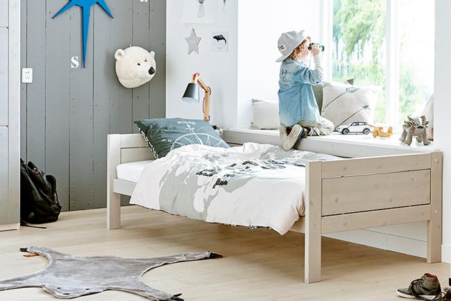 Kinderbed Met Extra Bed.Basisbed Excl Rugzijde Whitewash Luxe Lattenbodem
