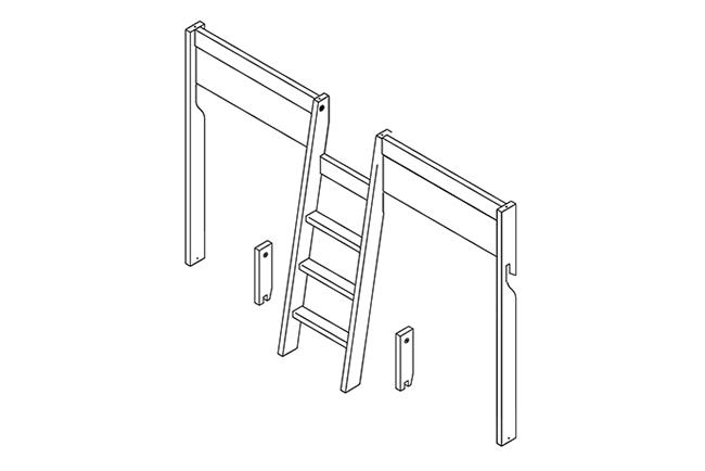 Schuine ladder - 4 IN 1 bed -  Greywash - Lifetime