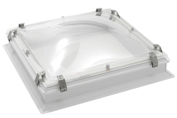 Lichtkoepel, Opstand met Bolvormige Lichtkoepel inbraakwerend, Opaal, 40 x 40 cm, PC